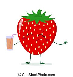 Cute Strawberry cartoon character holding a glass with juice.