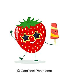 Cute Strawberry cartoon character in sunglasses star in the hands of a colorful ice cream.