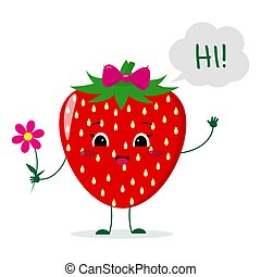 Cute Strawberry cartoon character with a pink bow holding a flower and welcomes.