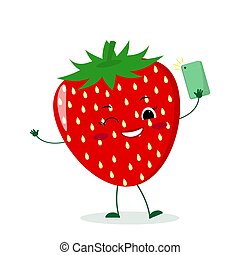 Cute Strawberry cartoon character with a smartphone and does selfie.