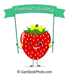 Cute Strawberry cartoon character with a yellow bow and earrings. Smiles and holds a premium quality poster.