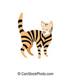 Cute striped cat isolated on white background