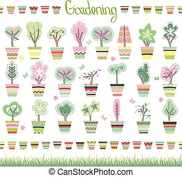 Cute striped flower pots, green grass and growing topiary. ...