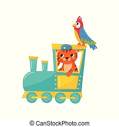 Cute striped tiger and parrot with colorful feathers. Cartoon animals traveling by train. Zoo theme. Flat vector element for kids education book, postcard or print