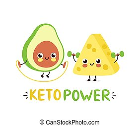 Cute strong smiling happy avocado and cheese make gym. Keto ...