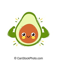 Cute strong smiling happy avocado show muscle biceps. Vector...
