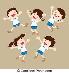 cute student boy and girl jumping be happy various actions.