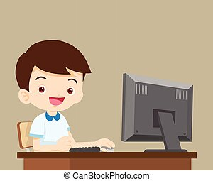 student boy working with computer