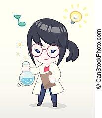 Cute Style Happy Scientist Girl Illustration