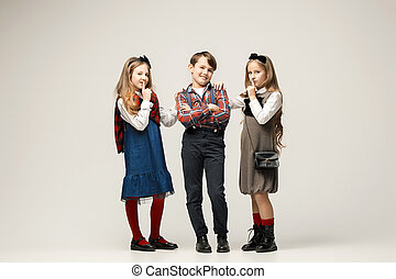 38d726333 Cute stylish children. Full length portrait of cute little kids in ...