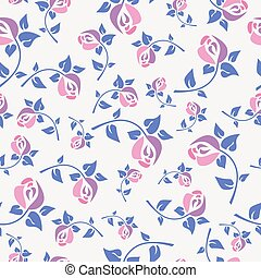Cute stylish seamless pattern with decorative roses