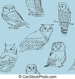 Cute stylish seamless pattern with owls on a blue background