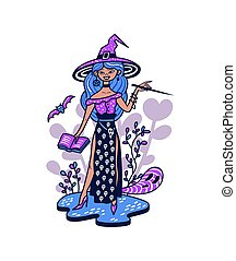 Cute stylish witch with a magic wand.