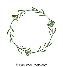 Cute stylish wreath of flowers and twigs. Round decorative frame. Contour drawing of flower and leaves in circle. Floral border in simple minimalist style. Scrapbooking, congratulations