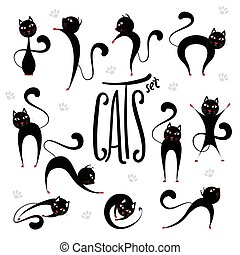 Cute stylized black cats set in various positions. Lettering inscription Cats.