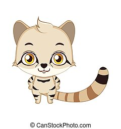 Cute stylized cartoon andean mountain cat illustration