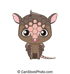 Cute stylized cartoon armadillo illustration ( for fun educational purposes, illustrations etc. )
