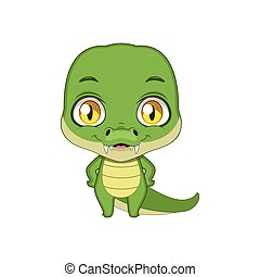 Cute stylized cartoon crocodile illustration ( for fun educational purposes, illustrations etc. )