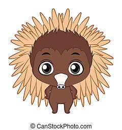 Cute stylized cartoon echidna illustration ( for fun educational purposes, illustrations etc. )