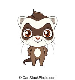 Cute stylized cartoon ferret illustration ( for fun educational purposes, illustrations etc. )