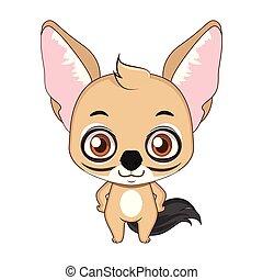 Cute stylized cartoon jackal illustration