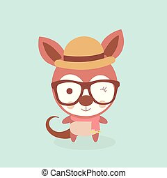 Cute stylized cartoon kangaroo illustration.