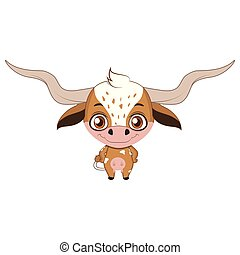 Cute stylized cartoon longhorn illustration ( for fun educational purposes, illustrations etc. )