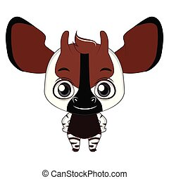 Cute stylized cartoon okapi illustration ( for fun educational purposes, illustrations etc. )