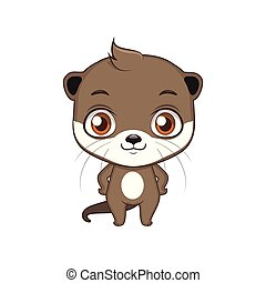 Cute stylized cartoon otter illustration ( for fun educational purposes, illustrations etc. )
