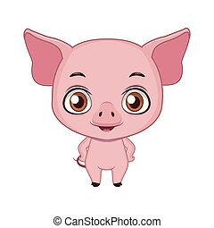 Cute stylized cartoon pig illustration ( for fun educational purposes, illustrations etc. )