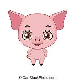 Cute stylized cartoon pig illustration ( for fun educational purposes, illustrations etc. )