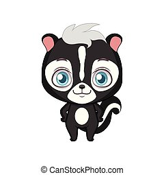 Cute stylized cartoon skunk illustration ( for fun educational purposes, illustrations etc. )
