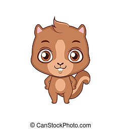 Cute stylized cartoon squirrel illustration ( for fun educational purposes, illustrations etc. )