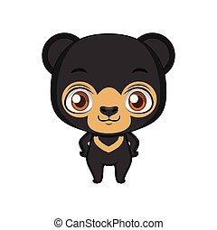 Cute stylized cartoon sun bear illustration ( for fun educational purposes, illustrations etc. )