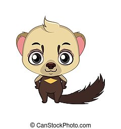 Cute stylized cartoon tayra illustration ( for fun educational purposes, illustrations etc. )