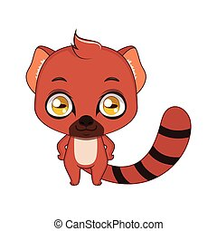 Cute stylized cartoon vontsira ( ring tailed mongoose ) illustration ( for fun educational purposes, illustrations etc. )