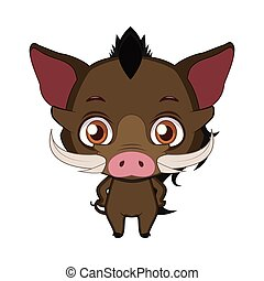 Cute stylized cartoon warthog illustration ( for fun educational purposes, illustrations etc. )