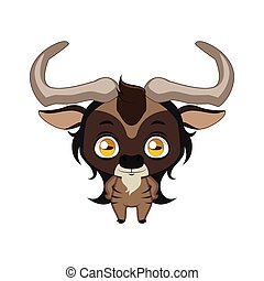 Cute stylized cartoon wildebeest ( gnu ) illustration ( for fun educational purposes, illustrations etc. )