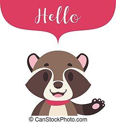 Cute stylized raccoon with speech bubble