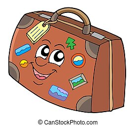 Cute suitcase on white background - isolated illustration.