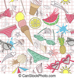 Cute summer abstract pattern. Seamless pattern with...