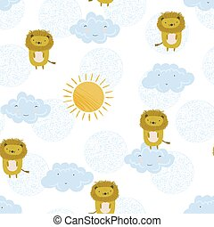 Cute summer pattern with lions, sun and clouds