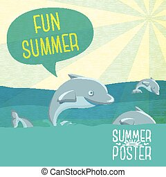 Cute summer poster - Dolphins jumping in the ocean, with speech bubble Fun Summer for your text,