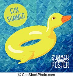 Cute summer poster - fun sea rubber duck, with speech bubble for your text. Vector.