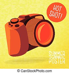Cute summer poster - photo camera shots, with speech bubble for your text. Vector.