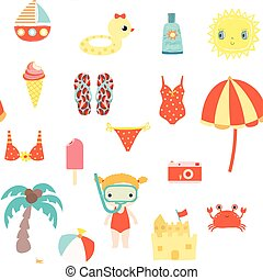 Cute summer seamless pattern with sun, ice cream and other beach elements for kids clothes and backgrounds for invitations