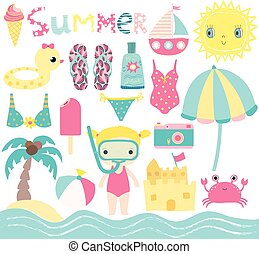 Cute summer set in pink, blue and yellow colors with beach design elements and characters for children birthday parties and baby showers