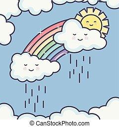 cute summer sun and clouds rainy with rainbow kawaii characters