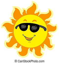 Cute summer Sun with sunglasses - isolated illustration.