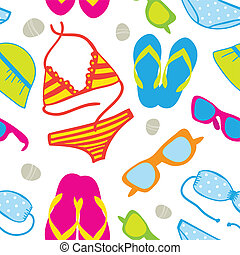 Cute summer vacations seamless background